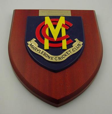 Marylebone CC shield, MCC v Melbourne Cricket Club - 30 Dec 1994; Civic mementoes; Trophies and awards; M12224