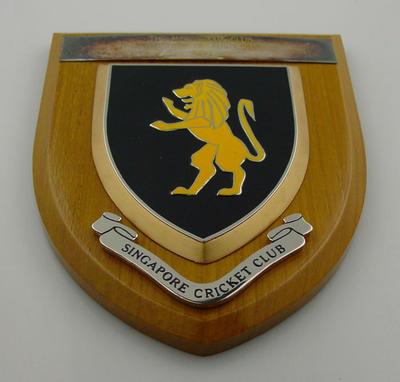 Singapore Cricket Club plaque, presented to MCC XXIX Club - 1988 Australian Tour