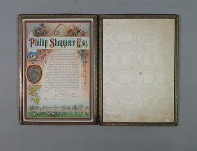 Testimonial presented to Phillip Shappere by Victorian Lacrosse Association, 1917