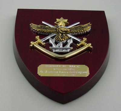 Plaque presented to Melbourne Cricket Club, commemorates Australian Services Tour to England - July/August 1993