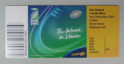 Poster advertising Rugby World Cup, 2003; Flags and signage; M12342