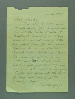 Letter from George Sauchev to Shirley Strickland, 6 Nov 1956