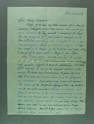 Letter from George Sauchev to Shirley Strickland, 15 Nov 1956
