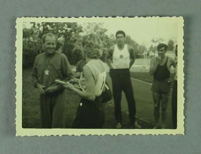 Photograph of Shirley Strickland with Emil Zatopek, Warsaw 1955
