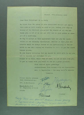 Letter from female Polish archers to Shirley Strickland, 27 Nov 1956