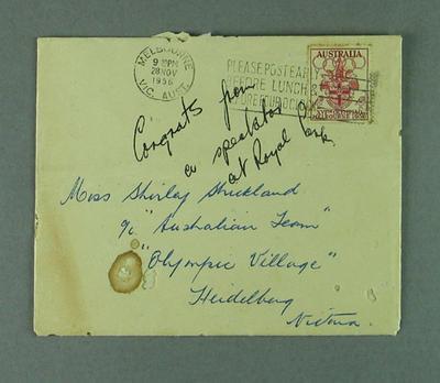 Envelope for greeting card sent to Shirley Strickland, 28 Nov 1956
