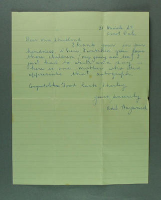 Letter from Adel Hayward to Shirley Strickland, 28 Nov 1956
