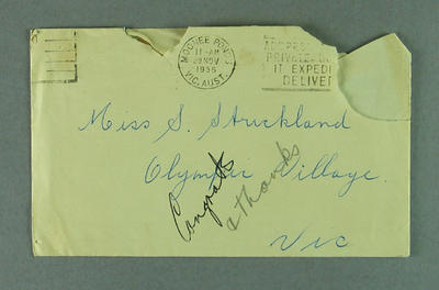 Envelope from Adel Hayward to Shirley Strickland, 28 Nov 1956