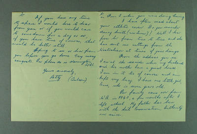 Letter from Betty Coulson to Shirley Strickland, 29 Nov 1956