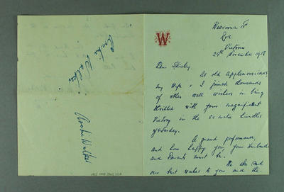 Letter from Archie Walker to Shirley Strickland, 29 Nov 1956