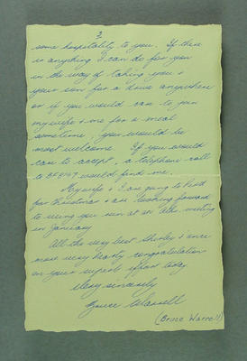 Letter from Bruce Warrell to Shirley Strickland, 29 Nov 1956