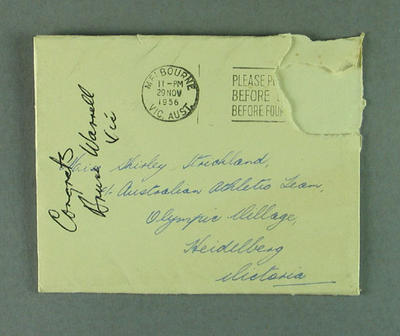 Envelope addressed to Shirley Strickland, 29 Nov 1956