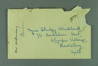 Envelope addressed to Shirley Strickland, Nov 1956
