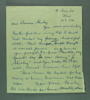 Letter from Henry Ford to Shirley Strickland, Nov 1956