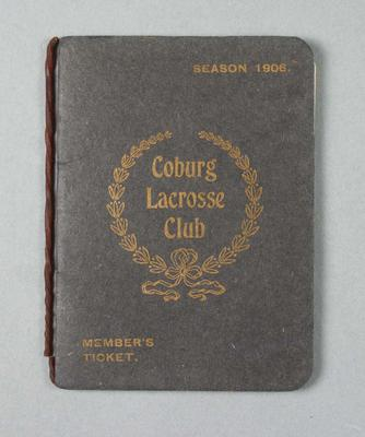 Member's ticket for Coburg Lacrosse Club, season 1906