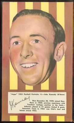 1953 Argus Football Portraits John Kennedy trade card