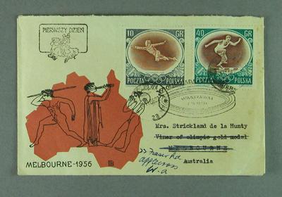 Envelope addressed to Shirley Strickland, 30 Nov 1956