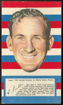 1953 Argus Football Portraits Charlie Sutton trade card
