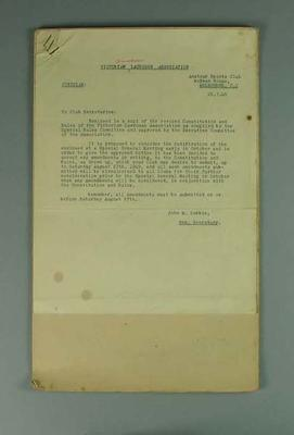 Constitution of Victorian Lacrosse Association, 1949