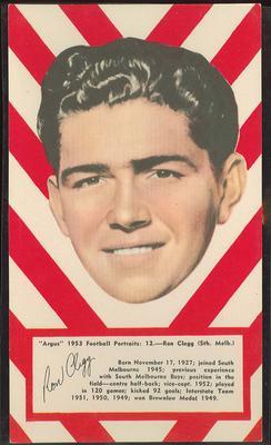 1953 Argus Football Portraits Ron Clegg trade card