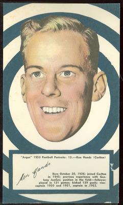 1953 Argus Football Portraits Ken Hands trade card