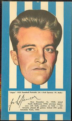 1953 Argus Football Portraits Jock Spencer trade card