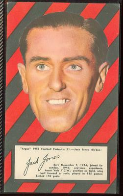 1953 Argus Football Portraits Jack Jones trade card