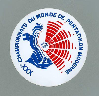 Sticker, XXXe Championnats Du Monde De Pentathlon Moderne - Moulins 87