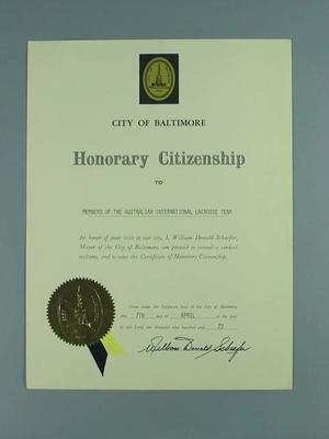 Certificate awarding Hon Citizenship of Baltimore to Australian lacrosse players, 7 April 1972
