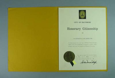 Certificate of Honorary Citizenship of Baltimore awarded to the Australian Lacrosse team, 7 April 1976