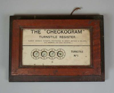 """Turnstile register, """"The Checkogram"""" used at MCG in early 1900s"""