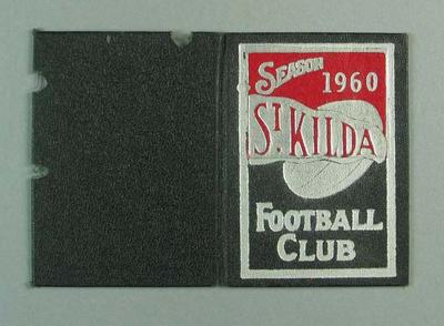 Football ticket with cloth-covered card cover - Season 1960 St. Kilda F.C.; Documents and books; 1987.1493.2
