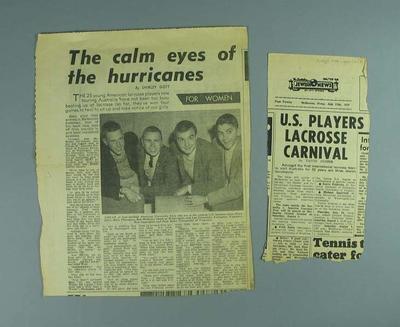 Newspaper clippings regarding visit of American lacrosse players, 1959