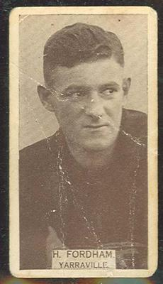 1933 W D & H O Wills Footballers Ted Fordham trade card; Documents and books; M12387.12