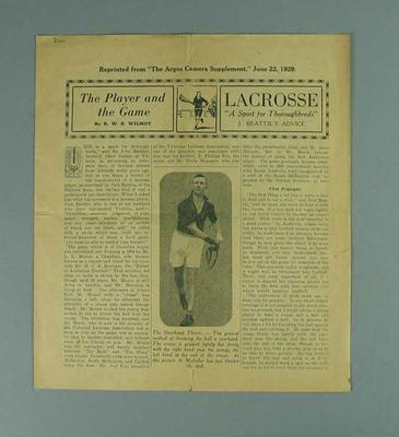 Pamphlet - 'The Player and the Game' by R.W.E. Wilmot, 22 June 1929