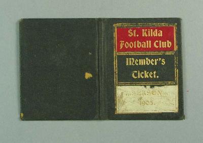 Membership ticket, St Kilda FC 1905; Documents and books; 1988.1904.9.1