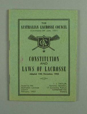 Booklet - Australian Lacrosse Council 'Constitution and Laws of Lacrosse' 1952