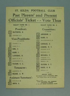 St Kilda FC Past Players' and Present Officials' Ticket how to vote card, c1940s; Documents and books; 1988.1904.21.5