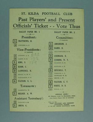 St Kilda FC Past Players' and Present Officials' Ticket how to vote card, c1940s