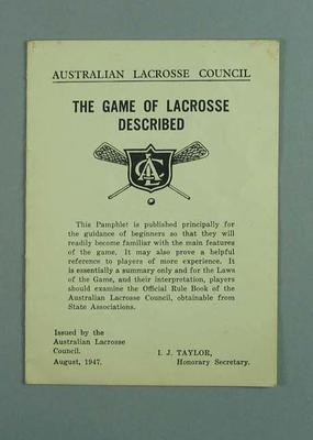 Booklet - Australian Lacrosse Council 'The Game of Lacrosse Described' 1947