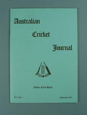 Magazine, Australian Cricket Journal vol 1 no 1