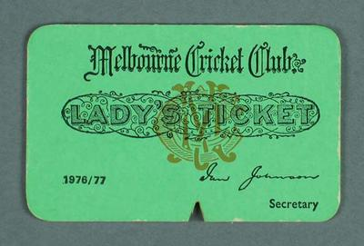 Melbourne Cricket Club Lady's Ticket, season 1976-77