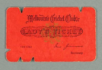 Melbourne Cricket Club Lady's Ticket, season 1981-82