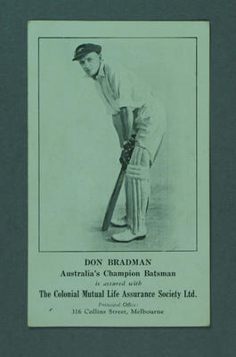 Advertisement featuring image of Don Bradman, The Colonial Mutual Life Assurance Society