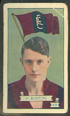 1934 Allen's League Footballers Haydn Bunton trade card