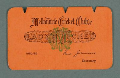 Melbourne Cricket Club Lady's Ticket, season 1982-83
