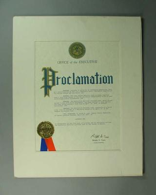 Proclamation of 'Lacrosse Day' in Nassau County, 20 April 1976