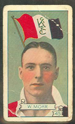 1934 Allen's League Footballers Wilbur Mohr trade card