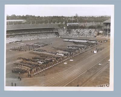 Photograph of Opening Ceremony at Melbourne Cricket Ground, 1956 Olympic Games