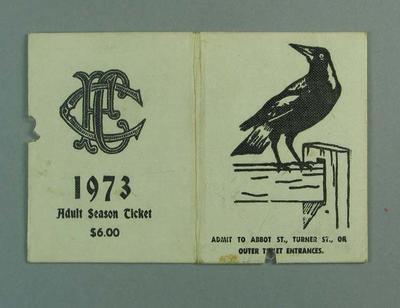 Season ticket, Collingwood Football Club 1973; Documents and books; 1990.2241.23